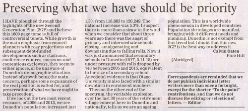 ODT 17.11.15 Letter to editor Oaten p6