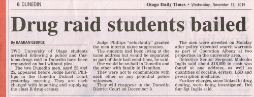 ODT 18.11.15 Drug raid students bailed p6