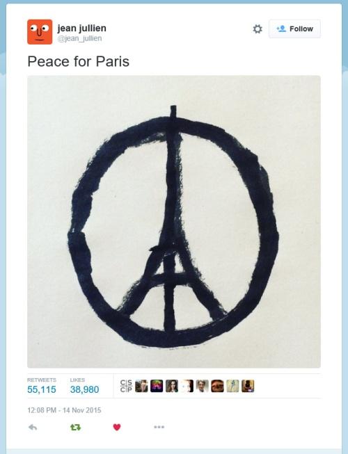 Peace for Paris tweet [Image by Jean Jullien (@jean_jullien)]