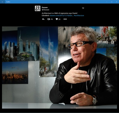 Tweet from Dezeen 19.11.15 - Libeskind