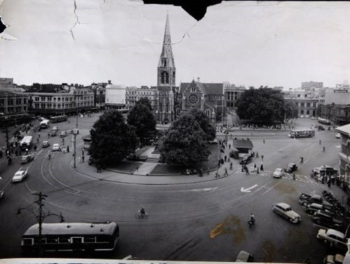 Christ Church Cathedral December 1954 (via Press - Stuff.co.nz)