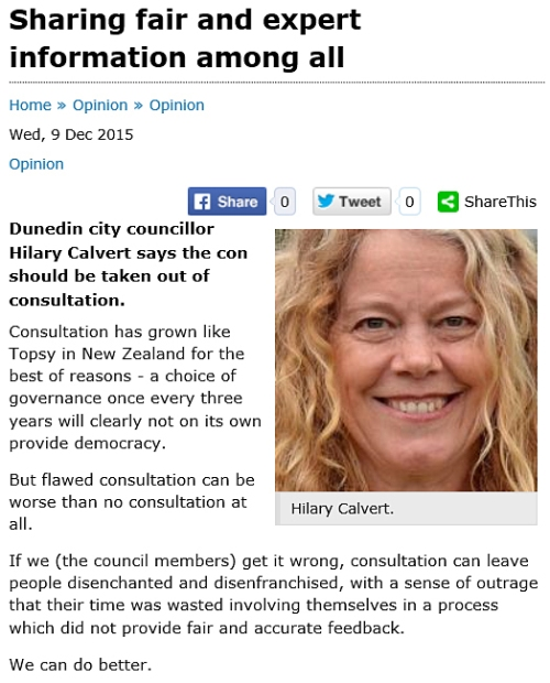 Hilary Calvert - Sharing fair and expert information among all (ODT 9.12.15)