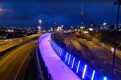 Light Path Nelson-St-at-Night-Brett-Blue [transportblog.co.nz]