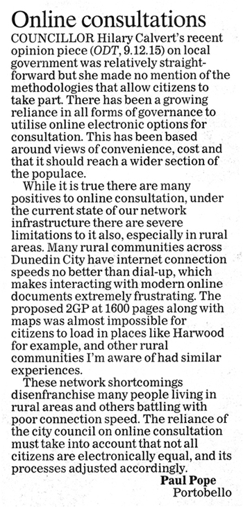 ODT 21.12.15 Letter to editor Pope p8 (1)