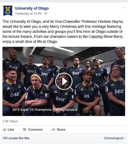 UoO Facebook Harlene Hayne xmas message + video 14.12.15