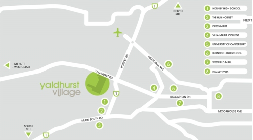 Yaldhurst Village location map [villagelife.co.nz]