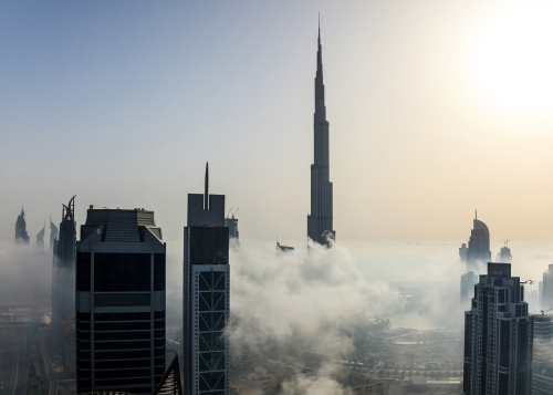 Dubai skyline during Torch fire Feb 2015 [via dezeen.com]
