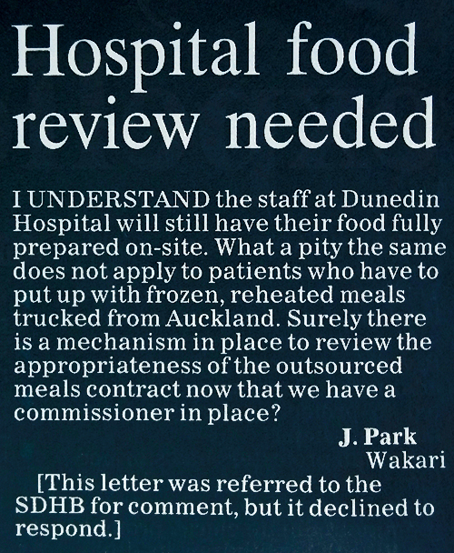 ODT 5.1.16 Hospital food review needed