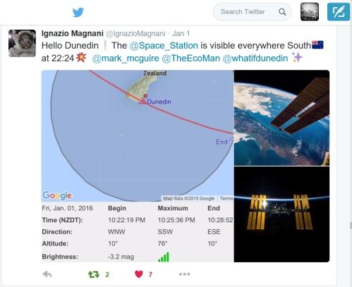 The @Space_Station - @IgnazioMagnini to @whatifdunedin 1.1.16