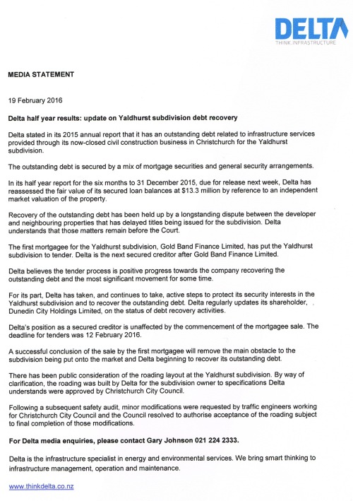 160219 Media Statement_Delta half year results - update on Yaldhurst subdivision debt recovery (scanned)