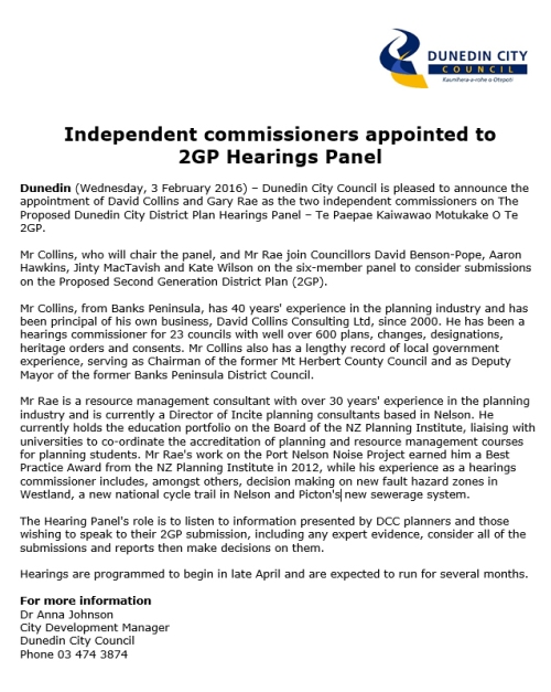 [DCC] MR 2GP Independent Commissioners appointed 3.2.16