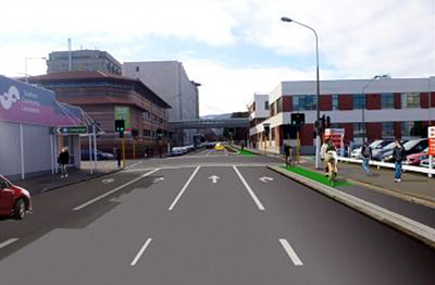 NZTA proposed segregated cycle lanes Cumberland St, Dunedin (SH1)
