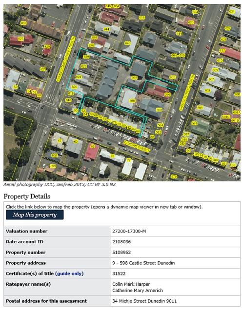 DCC Rates Book - 598 Castle Street, Dunedin [ID 2108036]