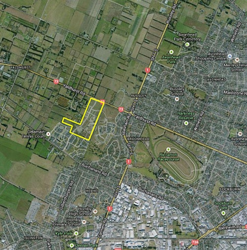 Delta - Noble Subdivision at Yaldhurst [Study Area Fig 1.1 in Beca report to CCC 17 October 2013 - via delamainactiongroup.org.nz]