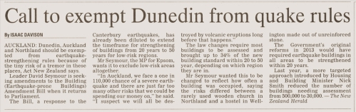 ODT 23.3.16 'Call to exempt Dunedin from quake rules' p9 (1)