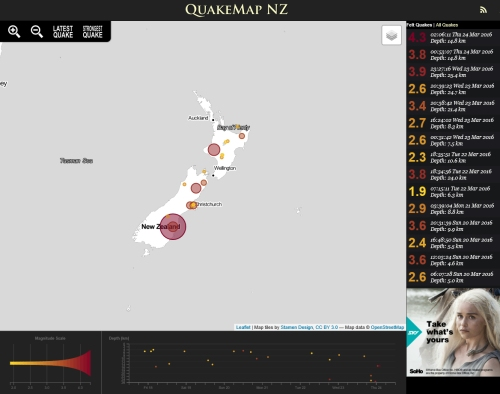 QuakeMap NZ 24.3.16 at 2.06 am