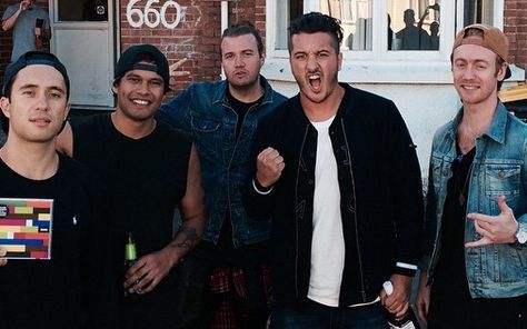 Six60 outside Castle Street flat that inspired their name Photo Instagram - Six60 (via RNZ News]