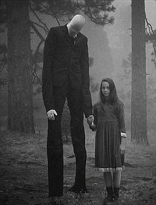 The cartoon character known as Slender Man is tall and thin with a featureless face [dailymail.co.uk]