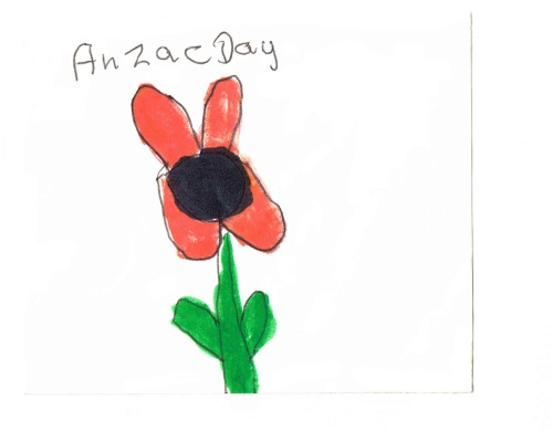 'Anzac Day', original handmade card. Drawing by Joan Butcher Hawkins, Dunedin (Poppy Day 22.4.16)