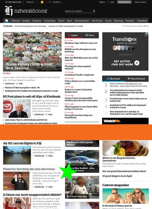 NZ Herald 6.4.16 home page sample at 12.22 pm [nzherald.co.nz] screenshot