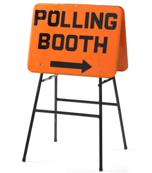 Object sign polling booth [collections.tepapa.govt.nz]