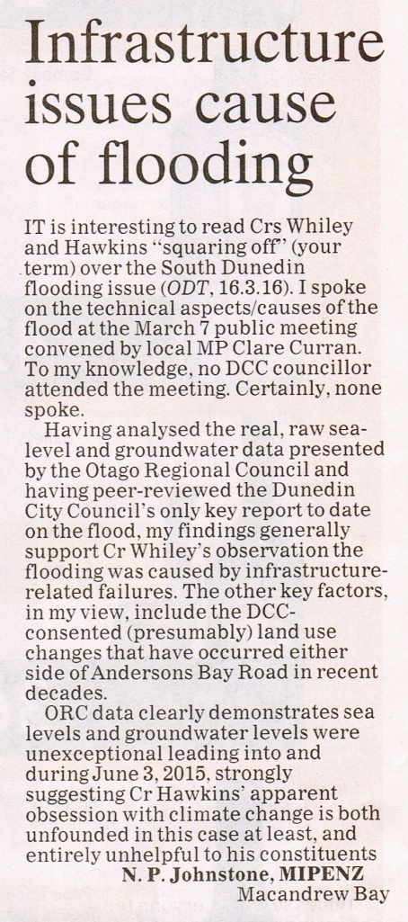 ODT 24.3.16 Letter to editor Johnstone p8