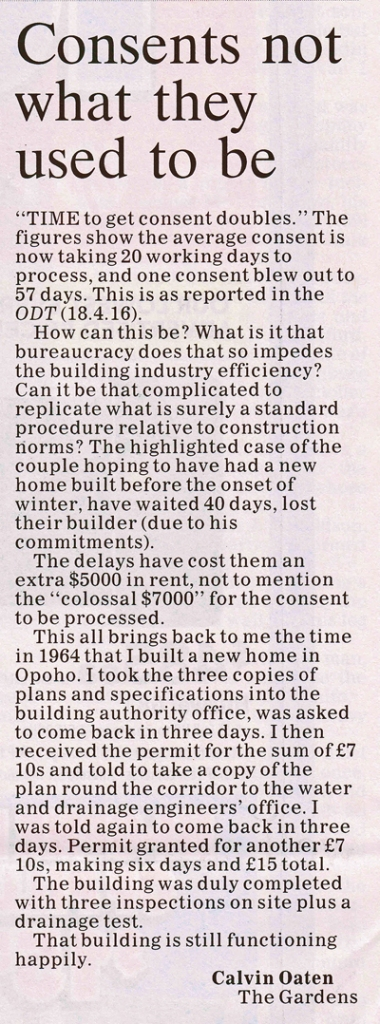 ODT 25.4.16  Letter to editor Oaten p10