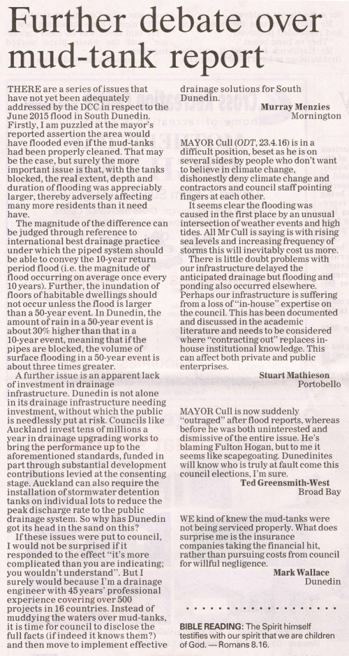 ODT 27.4.16  Letters to editor Menzies Mathieson Greensmith-West Wallace p12 (1)