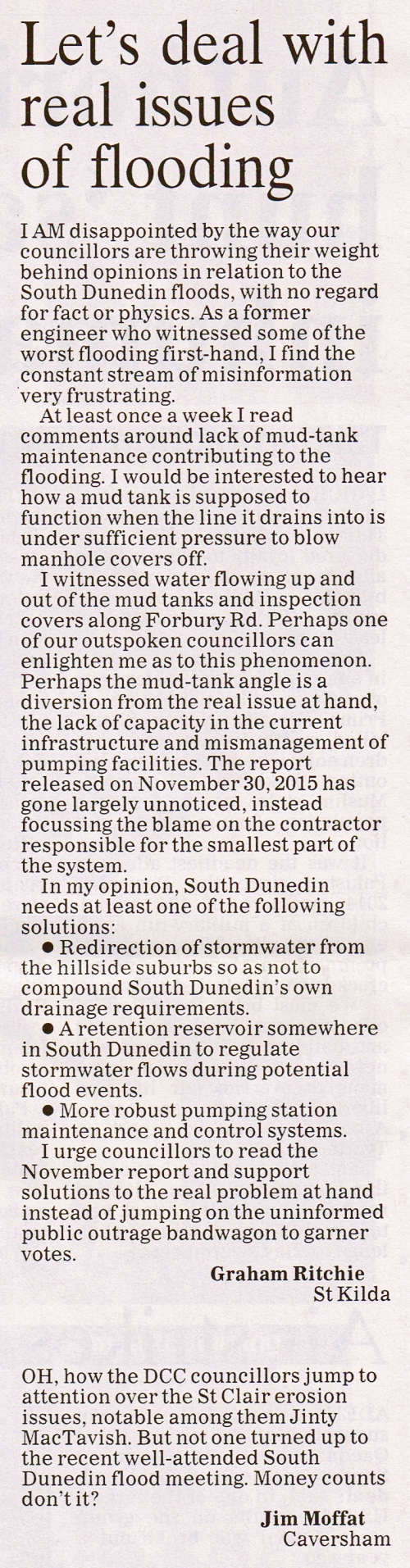 ODT 29.3.16 Letters to editor Ritchie Moffat p6
