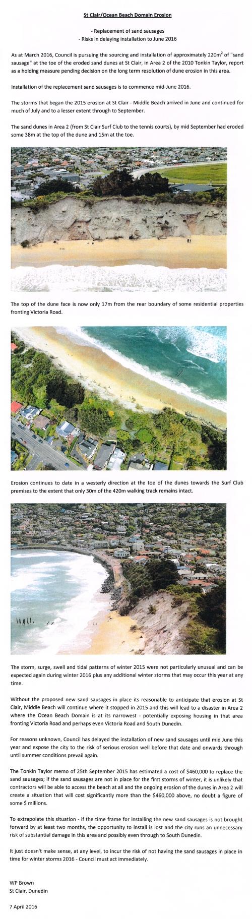 St Clair Ocean Beach Domain Erosion - WP Brown 7.4.16 [tabled at Council meeting 11.4.16] 1