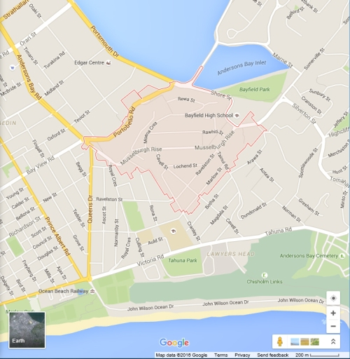 Google location map - Musselburgh, Dunedin (2016)