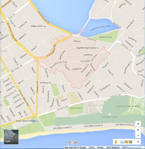 Google location map - Musselburgh, Dunedin (2016)