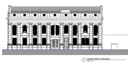 LM Building - south exterior elevation