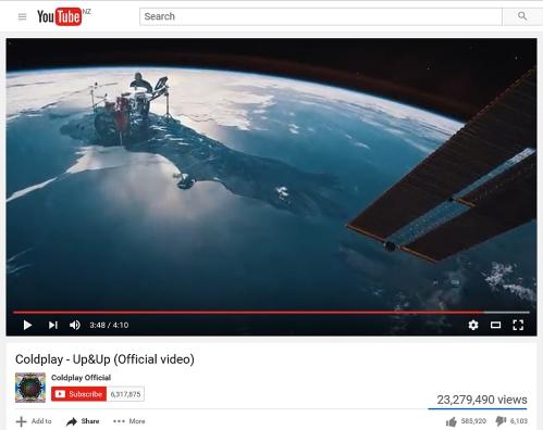 YouTube Coldplay Up&Up as at 29.5.16 [screenshot by whatifdunedin]
