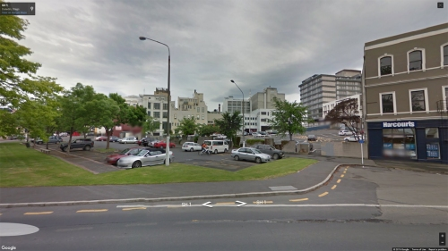 Dunedin Street View [Google] - Dowling Street Carpark from SH1, Queens Gardens 1