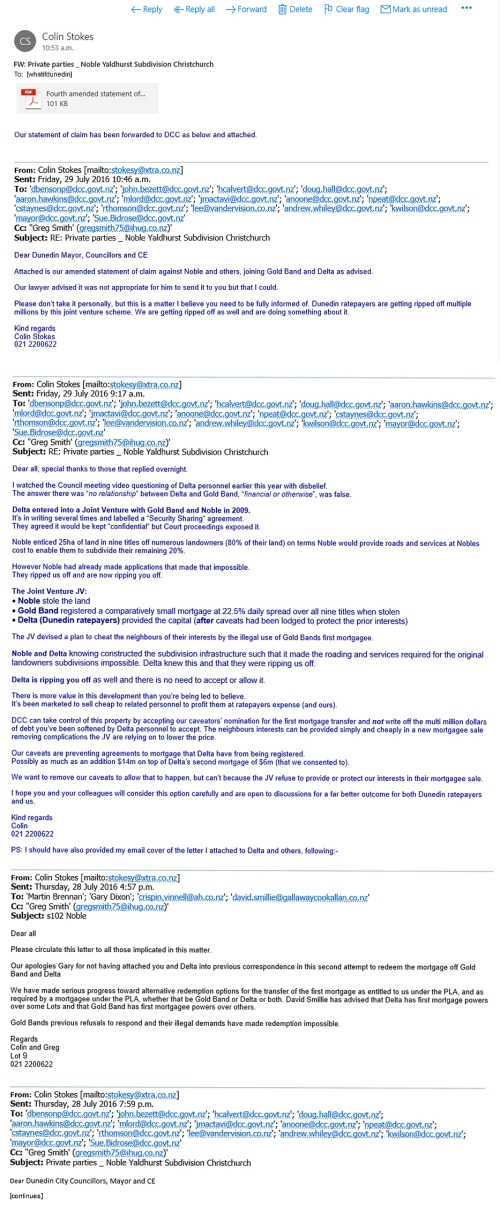 Emails from Colin Stokes [plaintiff] to DCC and others Fri, 29 July 2016 at 9.17 am - copied