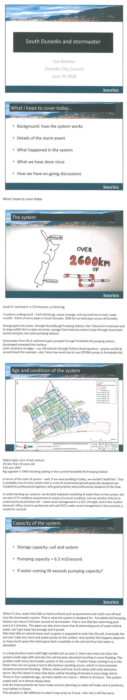 Sue Bidrose South Dunedin and stormwater June 20 2016 pp1-5