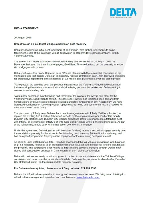 160826 Media Statement_Breakthrough on Yaldhurst subdivision debt recovery