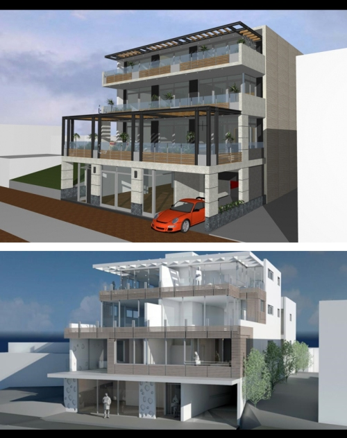 Apartment development, 6 Esplanade, St Clair - early iteration over current render (2016)