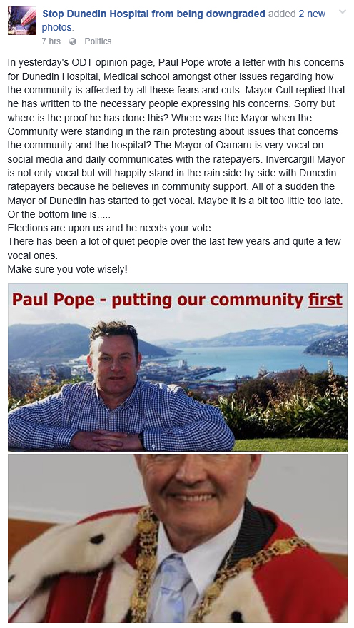 Facebook - Stop Dunedin Hospital from being downgraded 22.8.16