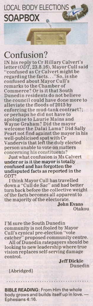 ODT 25.8.16 Letters to editor Weatherall Whiley Evans Dickie p6