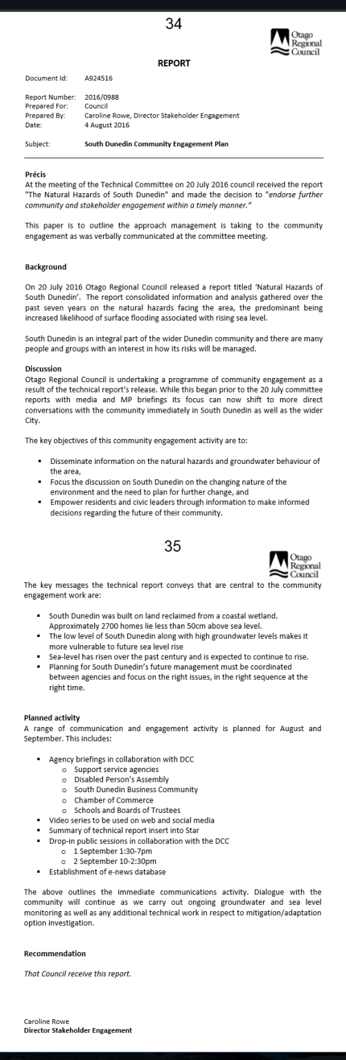 ORC Report 4.8.16 South Dunedin Engagement Plan [ID- A924516]