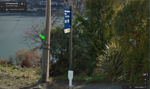 google-street-view-red-tagged-pole-beside-kelvin-peninsula-trail-sign-approx-269-peninsula-rd-kelvin-heights